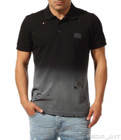 Ефектна поло тениска с омбре десен 9425