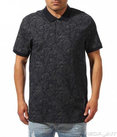 Син polo shirt в големи размери 9426