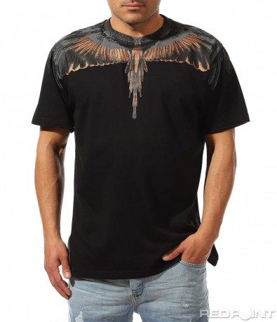 Едноцветна тениска с принт 9428