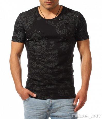 Щампирана тениска с флорални елементи 9430