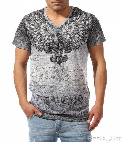 Стилна тениска с ефектна щампа 9431