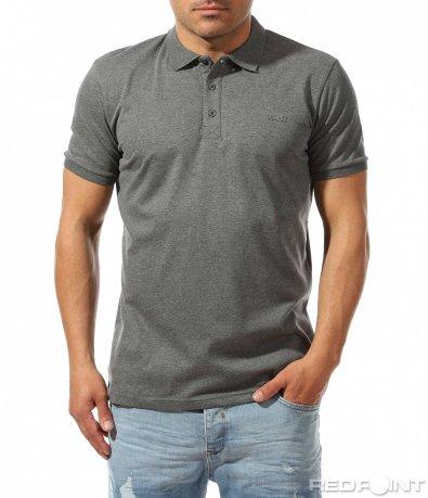 Едноцветна тениска с яка 9434