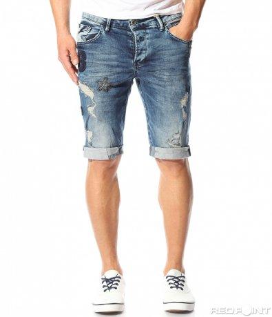 Сини къси дънки с нашивки 9446