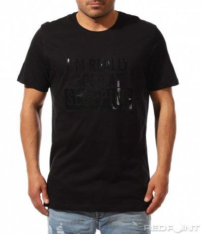 Памучна тениска с лъскав надпис 9467