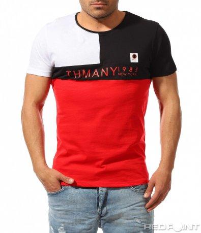 Тениска в стилна форма и надпис 9474