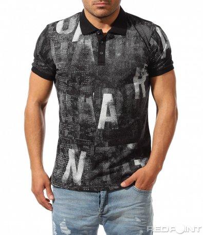 Тъмна поло тениска с надписи 9476