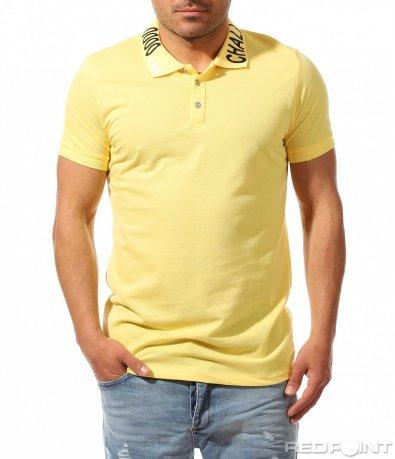 Едноцветна поло тениска с акцент 9477