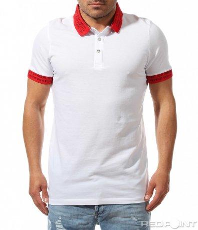 Бяла тениска с цветна яка 9478