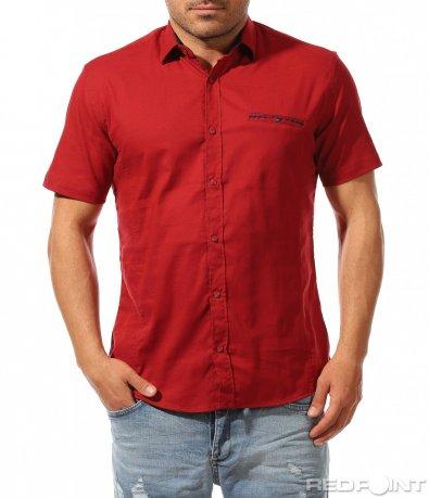 Памучна риза с къс ръкав 9484