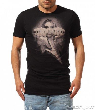 Памучна черна тениска Religion 9507