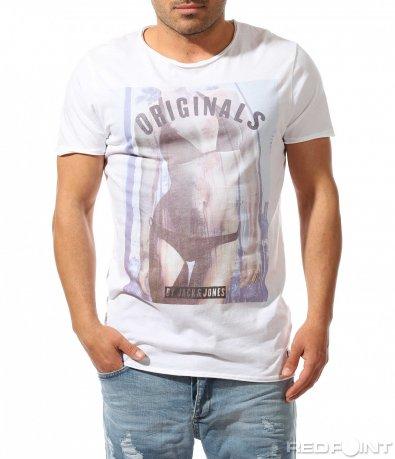 Свежа бяла тениска със силует 9503