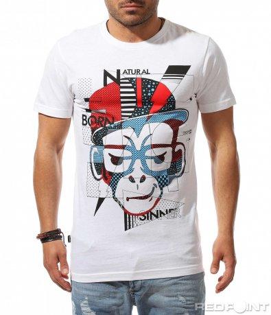 Бяла тениска с авангардна щампа 9519