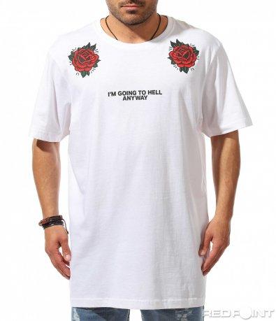 Тениска с акцентиран надпис и щампи 9521