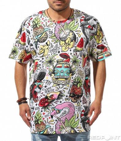 Много пъстра лятна тениска 9526