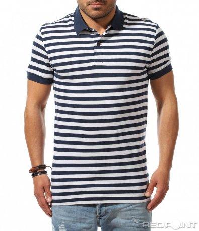 Семпла тениска с раиран принт 9530