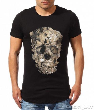 Черна тениска с лъв и череп 9614
