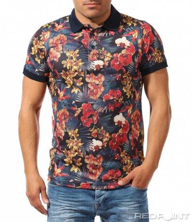 Фешън поло тениска с цветен принт 9618