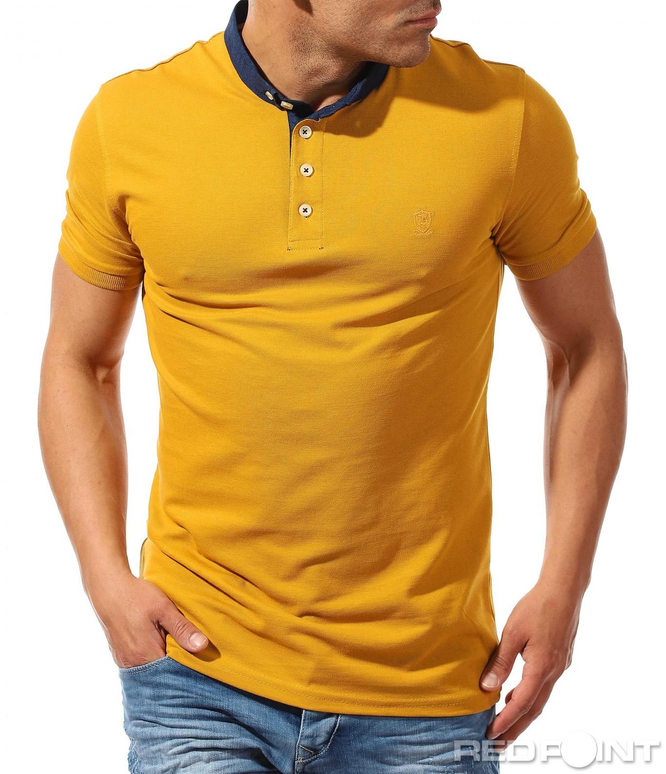 0abb7419aeb Изчистена мъжка поло тениска с малка яка. Жълт · Жълт · Жълт · Жълт · Жълт  · Жълт ...