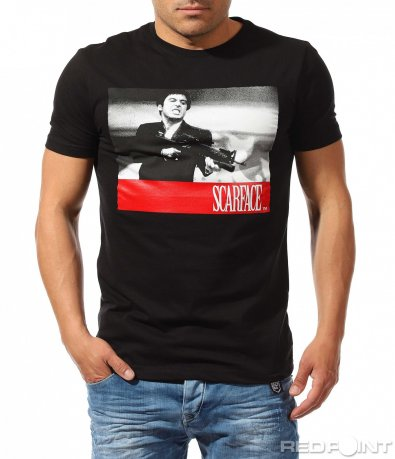 Тениска с апликация Scarface 9621