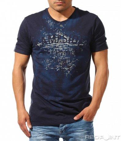Тъмно синя тениска с щампа 9630
