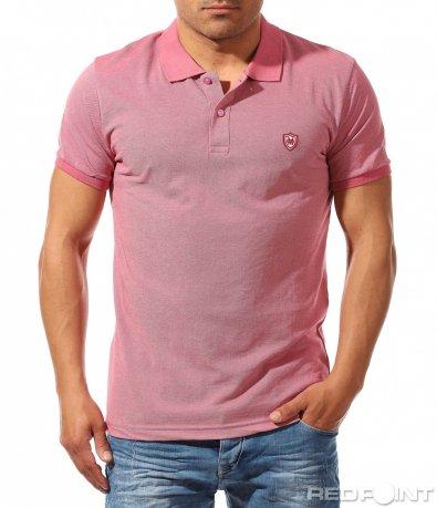 Едноцветна тениска с яка 9631