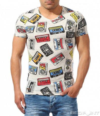 Щура тениска с цветни  апликации 9632