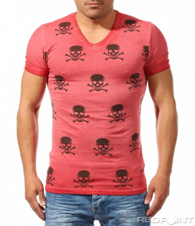 Ефектна тениска с щампи черепи 9635