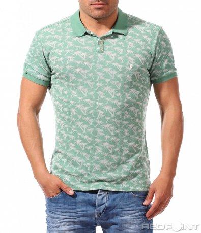 Тениска с яка с оригинален летен принт 9637
