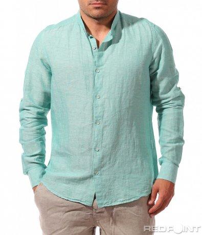Ленена риза в цвят мента 9638