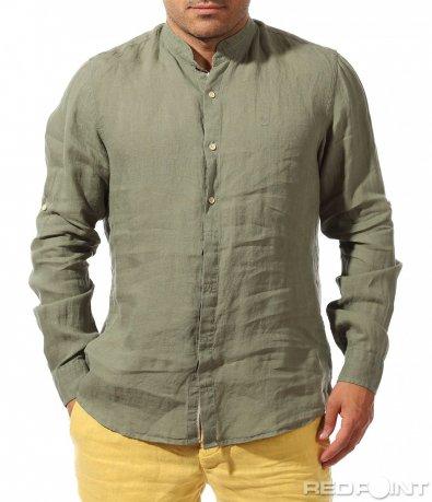 Зелена риза с войнишка яка 9639