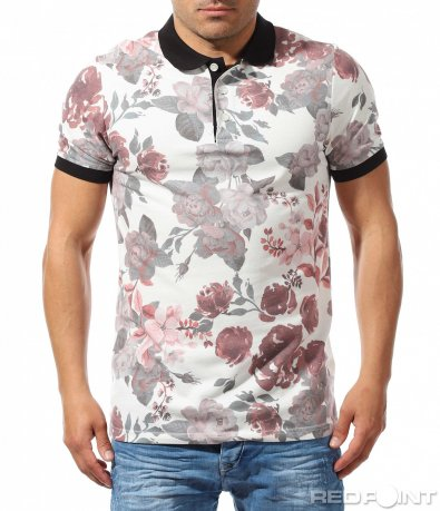 Акцентирана тениска с принт рози 9643