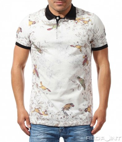 Свежа urban polo shirt с принт птици 9644