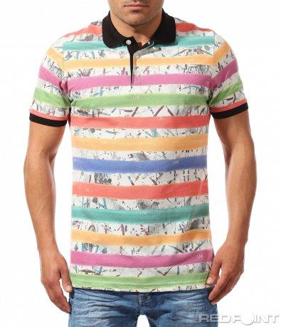 Поло тениска с шарен принт 9646