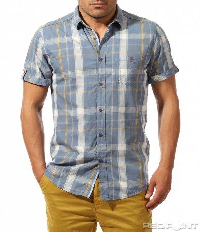 Карирана риза с къс ръкав 9658