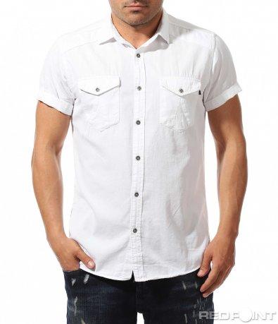 Чисто бяла риза с къс ръкав 9659