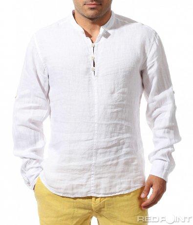 Бяла риза от лен 9664