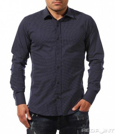 Тъмна риза с принт на точки 9668