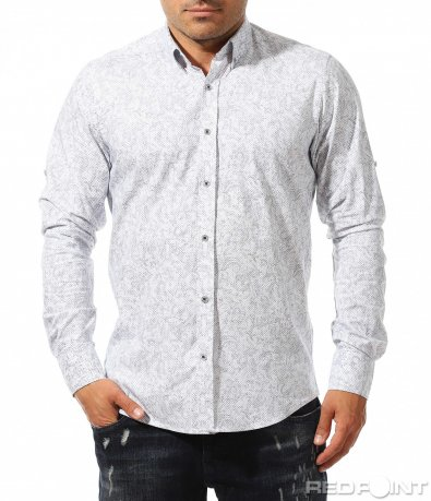 Бяла риза с тъмен принт 9670