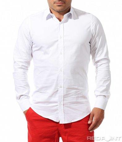 Класическа риза в едноцветен десен 9671