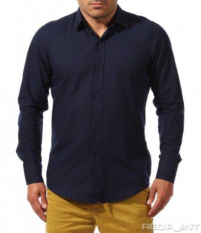 Изчистена риза в едноцветен десен 9672