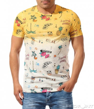 Двуцветна пъстра тениска 9683