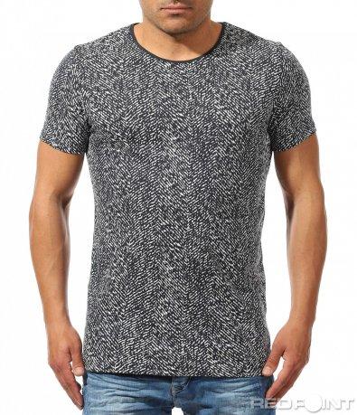Тениска със синьо бял десен 9686