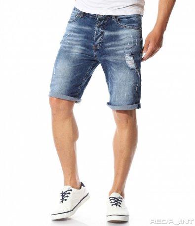 Накъсани мъжки къси дънки 9696