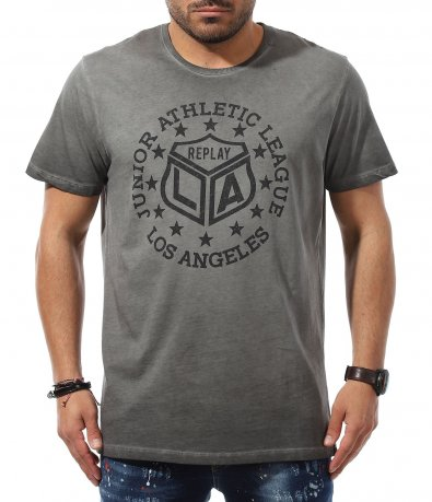 Тениска с овална апликация Replay