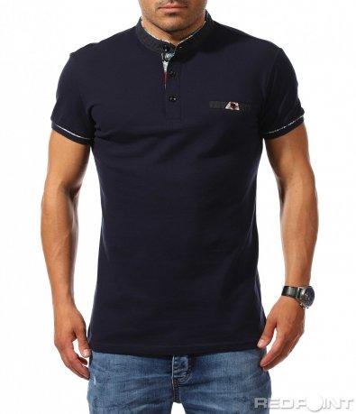 Тъмно синя тениска с войнишка яка 9750