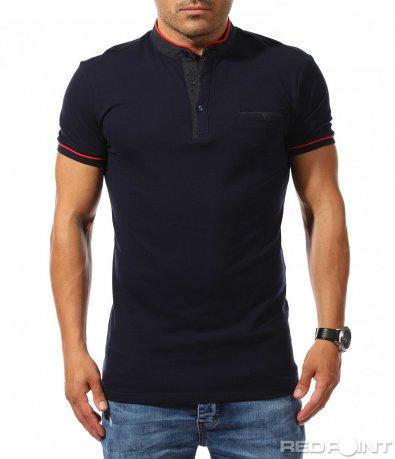 Син polo t-shirt с кант 9751