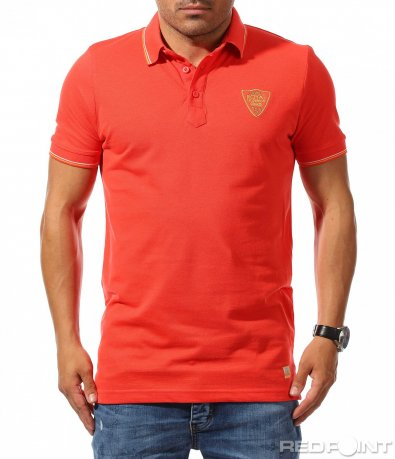 Тениска с яка в цвят корал 9770