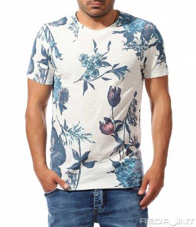 Бяла тениска с флорални мотиви 9773