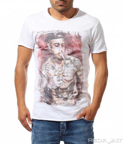 Бяла тениска с щампиран ефект 9774