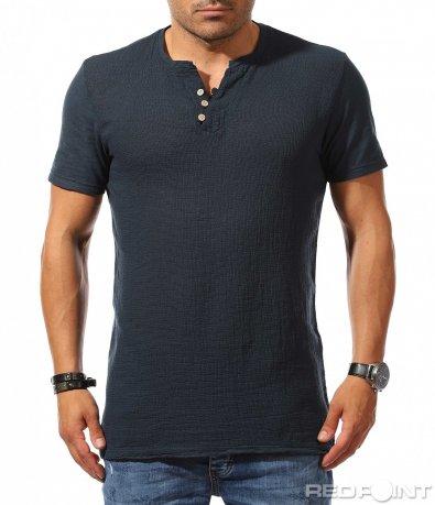 Авангардна тениска с малки копчета 9788